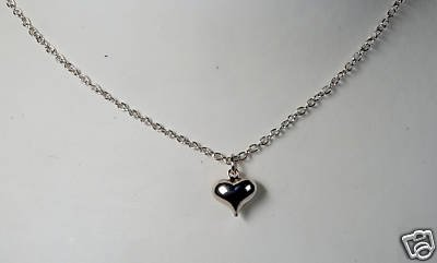 PUFFED HEART VINTAGE 70'S NECKLACE SILVER TONE JEWELRY