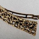 Vintage Hair Barrette Gold Tone Metal Crochet Style Spaces Hair Accessorie