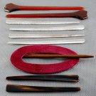 Vintage Hair Stick Barrette Lot Plastic Metal Tortoise Brown 9 pcs.