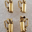 Vintage Lot of 4 Brass Metal Golf Bag Charms Jewelry Making Pendants