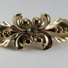 Vintage Hair Barrette Gold Plated Leaf and Berry Rhinestone Hair Accessorie