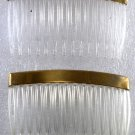 Vintage Clear Hair Comb Gold Topper Pair