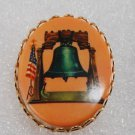Vintage Liberty Bell PLastic Cabochon American Flag Pin Brooch Jewelry