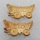 Vintage Chuck Wagon Stamping Pair Nicely Detailed Brass Metal Old West