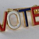 Vintage Red White Blue Enamel Political Vote Pin