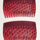 Vintage Hair Comb Pair Made in France Black Pink Pinstirpe Accessorie