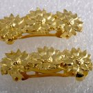 Vintage Hair Barrettes Pair Daisy Gold Plated Metal Hair Accessories