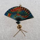 Vintage Enamel Fan Pendant Pin Broach Jewelry Silver Metal
