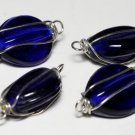 Vintage Cobalt Blue Glass Silver Wire Connector Bead Finding