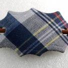 Vintage Hair Slide STick Barrette Plaid Fabric on Leather Wood Accessorie