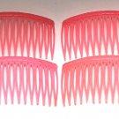 Vintage Pink Hair Comb Hair Plastic Accessories Set 4