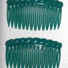 Vintage Green Made In Hong Kong Hair Comb Pair