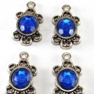 Vintage Silver Metal Blue Glass Gem Pendant Copyright ID Jewelry Making Finding