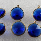 Vintage Faceted Dangle Beads Blue Plastic Brass Lot of 6 Jewelry Making 18mm