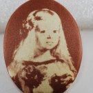 VTG Screen Printed Satin Oval Plastic Velazquez Infanta Margarita Finding Brown