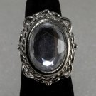 Vintage Silver Metal Adjustable Glass Stone Ring