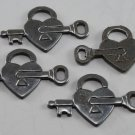 Vintage Silver Set of 4 Lock and Key Heart Metal Stampings Finding
