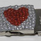 Vintage Rinestone Heart Silver Metal Belt Buckle