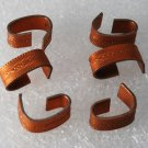 Vintage Set of 6 Copper Metal Etched Design Connectors Jewelry Making