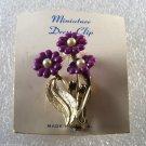 Vintage Purple Flower Dress Clip Gold Tone Metal Faux Pearl