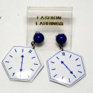 Vintage Blue and White Metal Clock Pierced Earring