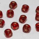 Vintage Red Star Glass Bead Findings Set of 12 Jewelry
