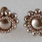 Vintage 50's Plastic Faux Pearl Screw Back Earring Pair Japan Jewelry