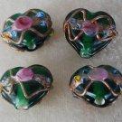 Vintage Green Glass Heart Lampwork Beads Jewelry Making 12mm