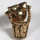 VINTAGE BASKET BOW PIN JEWELRY GOLD TONE