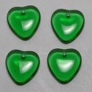 Vintage Green Transparent Glass Beads Set of 4