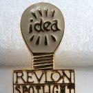 Vintage 70's Revlon Spotlight Idea! Gold Metal Pin