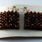 Vintage Pair Tip Toe Shoe Clips Brown Bead Shoe Accessories New on Card
