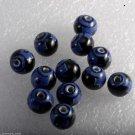 Vintage Glass Beads Set of 12 Round Black Blue Design Jewelry Making