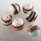 Vintage Glass Bead set of 6 White Striped Strip Drilled Through Jewelry Making