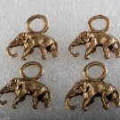 Vintage Elephant Charm Pendants  Lot of 4 Gold Tone Metal Jewelry Making
