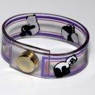 Vintage Vinyl Plastic Panda Bear Snap Clasp Bracelet