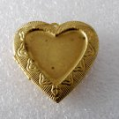 Vintage Heart Locket Raw Brass Decorative 39x43mm Pendant Jewelry Making