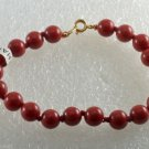 Vintage Bracelet Red Plastic Bead Single Strand Made in Haiti Jewelry 7 ""