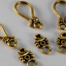Vintage set of 4 Fish Hook Clasp Gold Metal Jewelry Making Piece