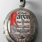 Victorian Style Silver Plated Perfume Locket Poe The Raven Glass Dome Cabochon