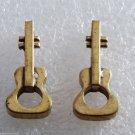 Vintage Guitar Pendants RAw Brass Metal Pair  Music Instrument Jewelry Making