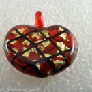 Vintage Glass Red Heart Gold Flake Pendant Black Criss Cross  Jewelry Making