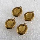 Vintage Lockets Brass Set of 4 Reservoir Center 12x10MM Pendant