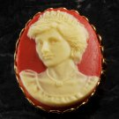 "LTV Creation ""Princess Diana"" Pin Brooch Gold Plated Metal Resin Cameo"