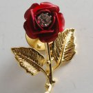 Vintage Red Rose Gold Tone Metal Pin Clear Rhinestone Center