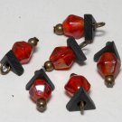 Vintage Red Glass Metal Dangle Bead Finding Set of 6