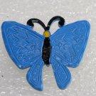 Vintage 70's Blue Butterfly Metal Pin Broach