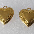 Vintage Pair Brass Etched Heart Lockets Pendants Charms Jewelry Making 12mm