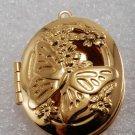 Vintage Locket Pendant Gold PLated Butterfly Flowers Stem Inside 30x23mm