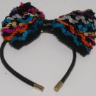 Vintage Girl Multicolor Sequin Black Headband Large Bow
